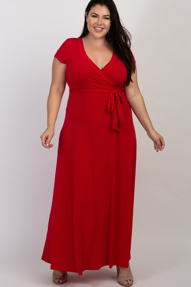 Red Solid Short Sleeve Plus Nursing Maxi Dress