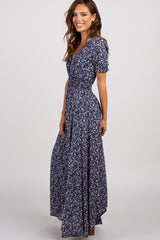 Navy Floral Smocked Waist Button Front Maxi Dress