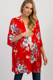 Red Floral Ruffle Sleeve Maternity Kimono