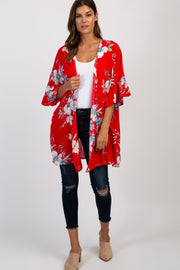 Red Floral Ruffle Sleeve Kimono