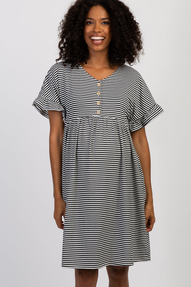 Black Striped Ruffle Sleeve Button Front Maternity Dress