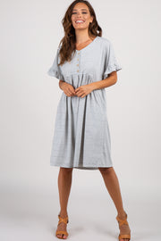Grey Striped Ruffle Sleeve Button Front Dress