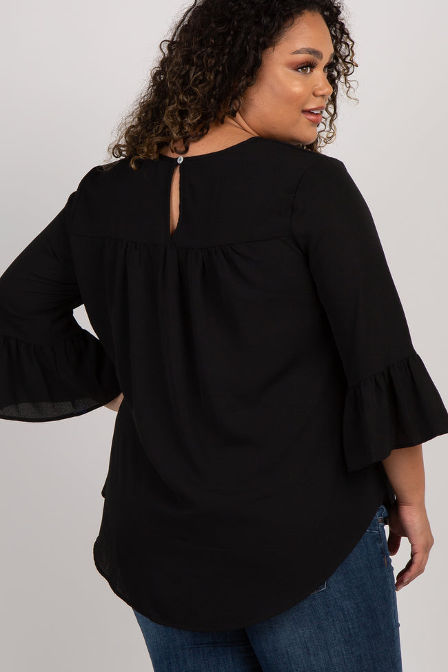 Black Solid Ruffle Sleeve Plus Maternity Top