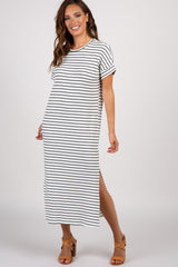 White Striped Short Sleeve Midi Dress
