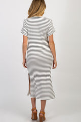White Striped Short Sleeve Maternity Midi Dress