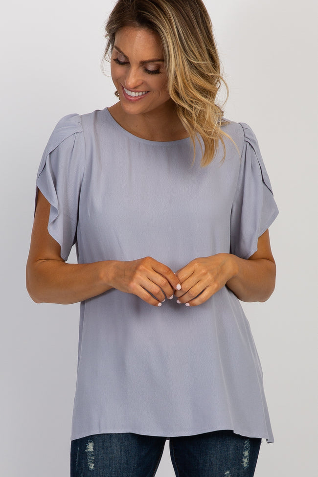 Grey Solid Tulip Sleeve Maternity Top