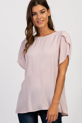 Mauve Solid Tulip Sleeve Top