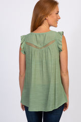 Green Butterfly Sleeve Tie Accent Top