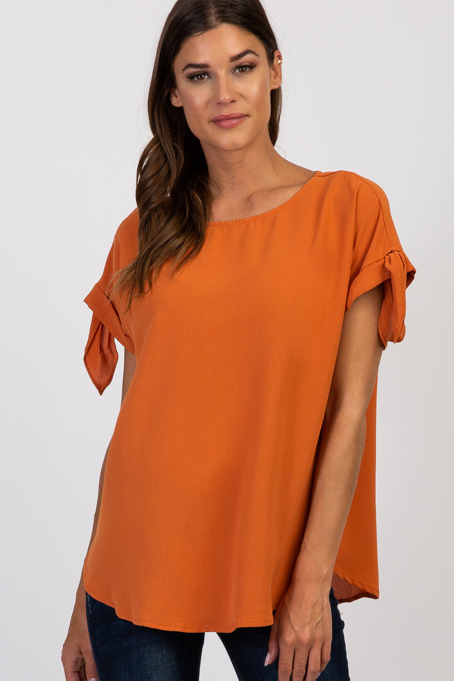 Orange Solid Tie Sleeve Top