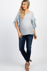 Grey Solid Ruffle Sleeve Maternity Top