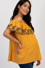 Yellow Embroidered Ruffle Off Shoulder Maternity Top