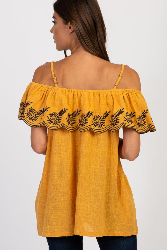 Yellow Embroidered Ruffle Off Shoulder Top