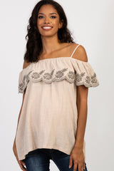 Beige Embroidered Ruffle Off Shoulder Maternity Top