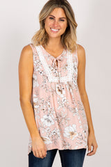 Light Pink Floral Crochet Front Tank Top