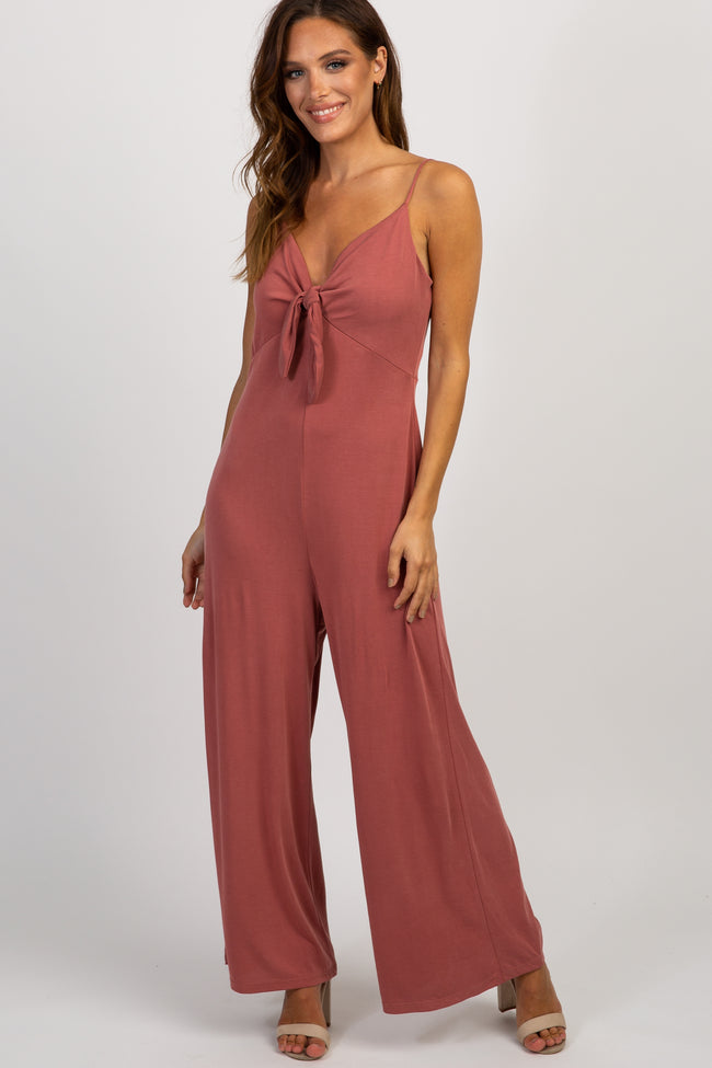 Mauve Solid Sleeveless Tie Front Jumpsuit