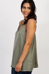 Light Olive Satin Scalloped Trim Top