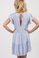 Blue Pinstriped Tiered Butterfly Sleeve Dress