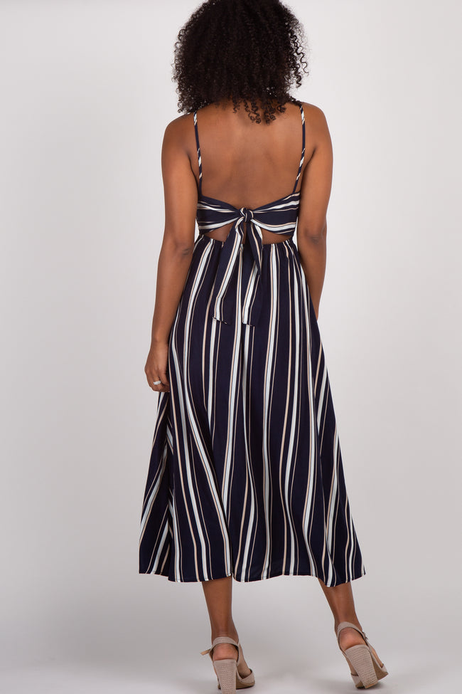 Navy Striped V-Neck Button Front Midi Dress