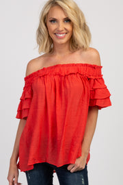 Red Solid Ruffle Off Shoulder Top