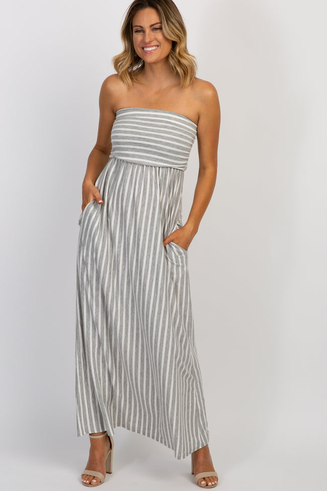 Heather Grey Striped Strapless Maxi Dress