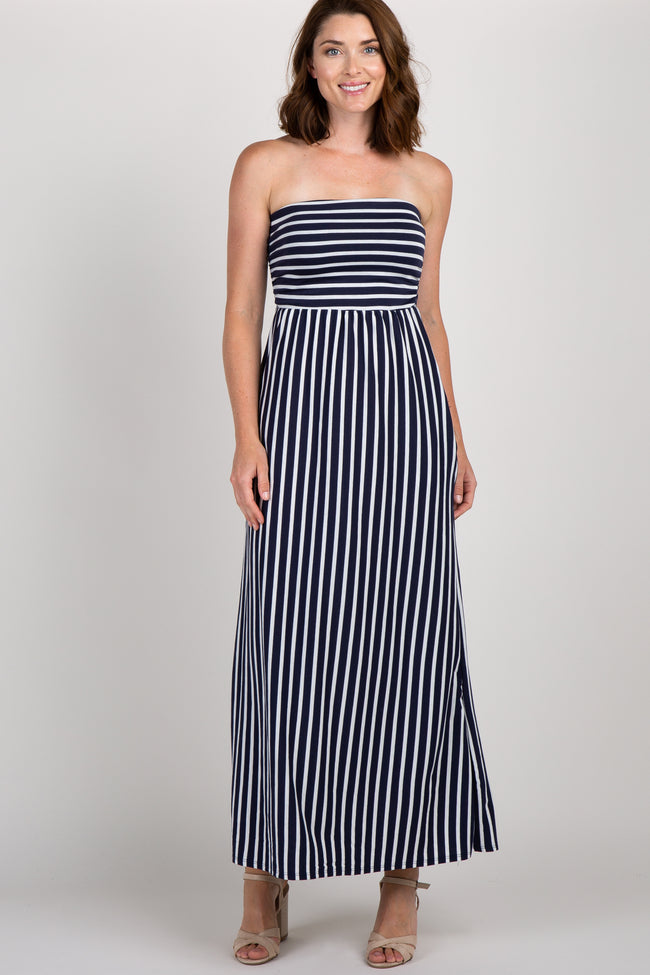 Navy Striped Strapless Maxi Dress