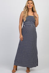 Navy Striped Strapless Maternity Maxi Dress