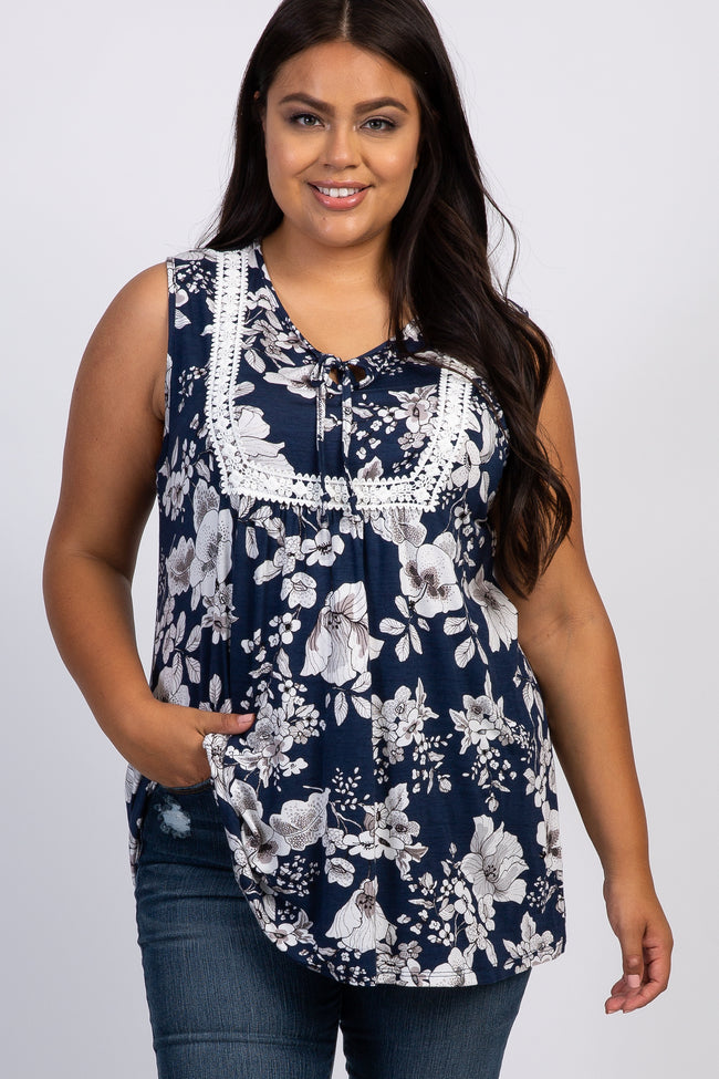 Navy Blue Floral Crochet Front Plus Maternity Tank Top