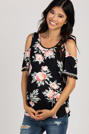 Black Floral Tassel Trim Embroidered Maternity Top