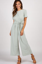 Mint Green Striped Tie Front Jumpsuit