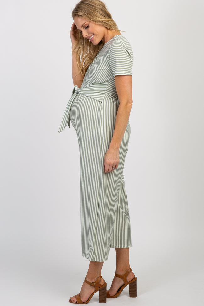 Mint Green Striped Tie Front Maternity Jumpsuit