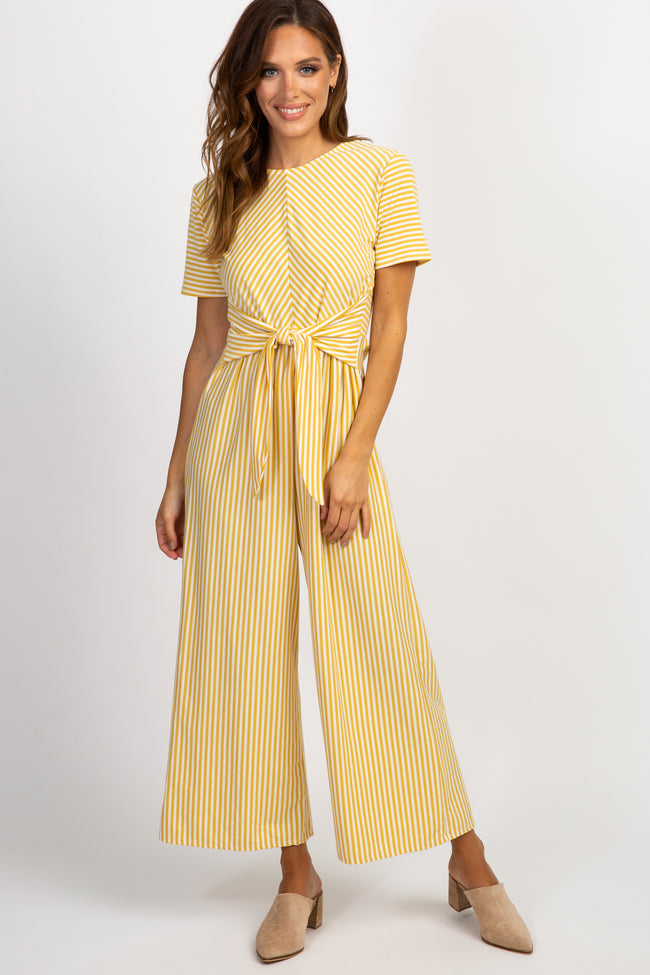 Yellow Striped Tie Front Jumpsuit
