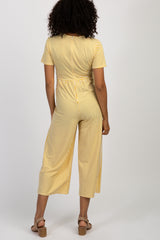 Yellow Striped Tie Front Maternity Jumpsuit