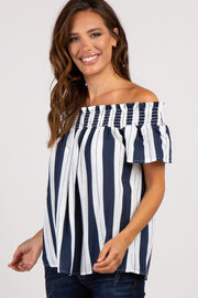Navy Striped Off Shoulder Smocked Top