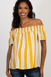 Yellow Striped Off Shoulder Smocked Maternity Top