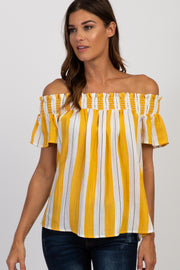Yellow Striped Off Shoulder Smocked Top
