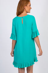 Jade Pleated Ruffle Hem Shift Dress