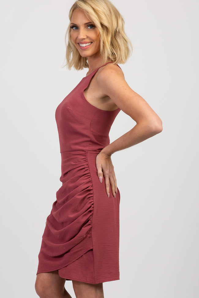 Mauve Ruched Fitted Halter Neck Dress