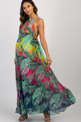 Multi-Color Palm Print Gold Strap Halter Neck Maternity Maxi Dress