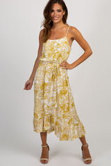 Yellow Floral Tassel Tie Wrap Midi Dress