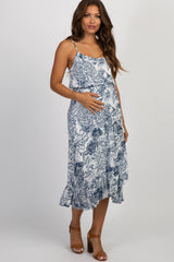 Navy Floral Tassel Tie Wrap Maternity Midi Dress