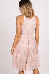 Light Pink Embroidered Mesh Halter Neck Dress