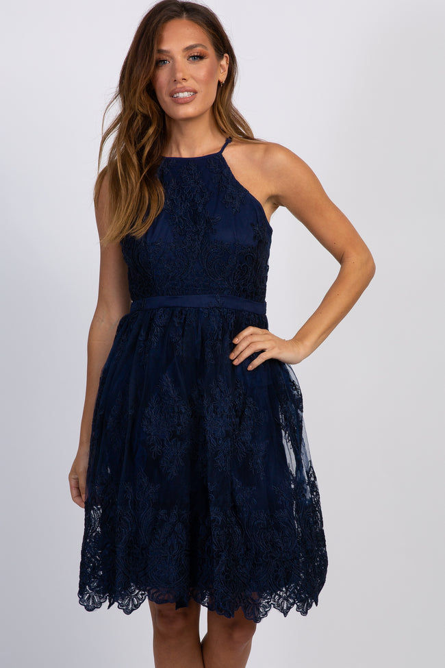 Navy Blue Embroidered Mesh Halter Neck Dress