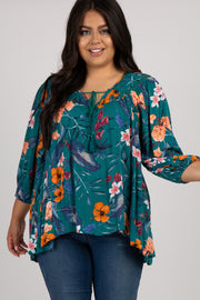 Teal Floral Crochet Trim Plus Blouse