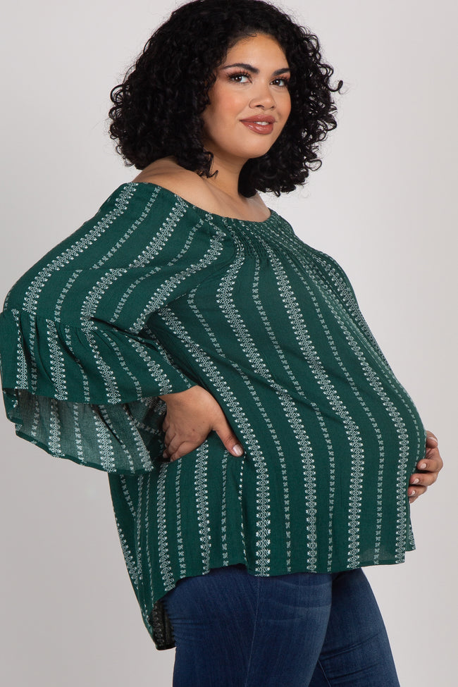 Forest Green Printed Smocked Ruffle Maternity Plus Top
