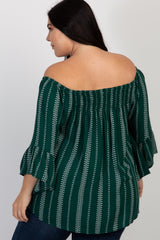 Forest Green Printed Smocked Ruffle Plus Top