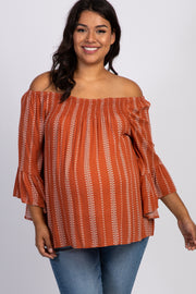 Rust Printed Smocked Ruffle Maternity Plus Top