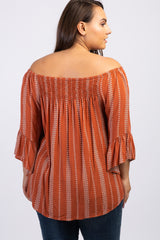 Rust Printed Smocked Ruffle Plus Top