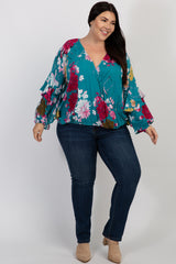 Teal Floral Ruffle Sleeve Plus Wrap Top