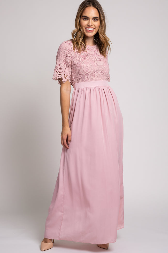 Mauve Crochet Top Maternity Maxi Dress