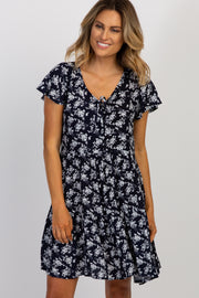 Navy Floral Button Front Dress